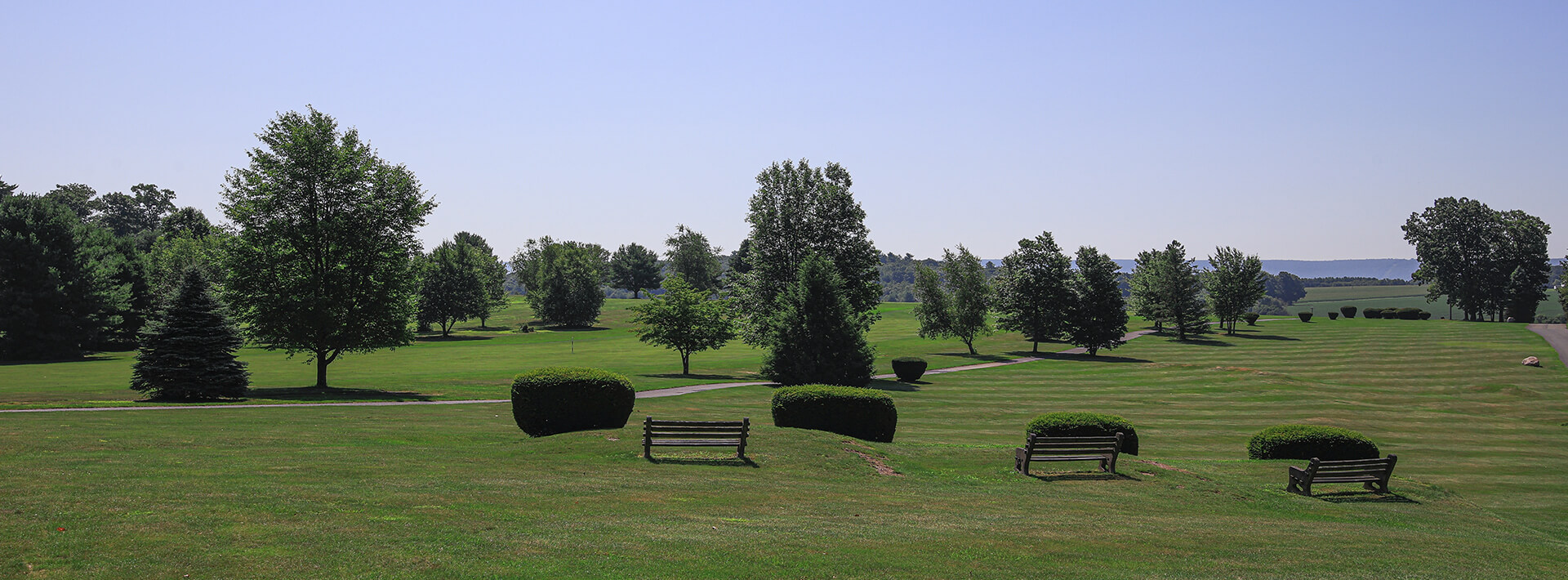 A view of the benches at the Hideaway Hills golf course